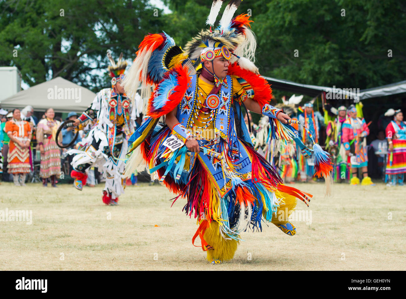 Pow Wow Native Male Dancer in Traditional Regalia Six Nations of the Grand River Champion of Champions Powwow, Ohsweken - Stock Image