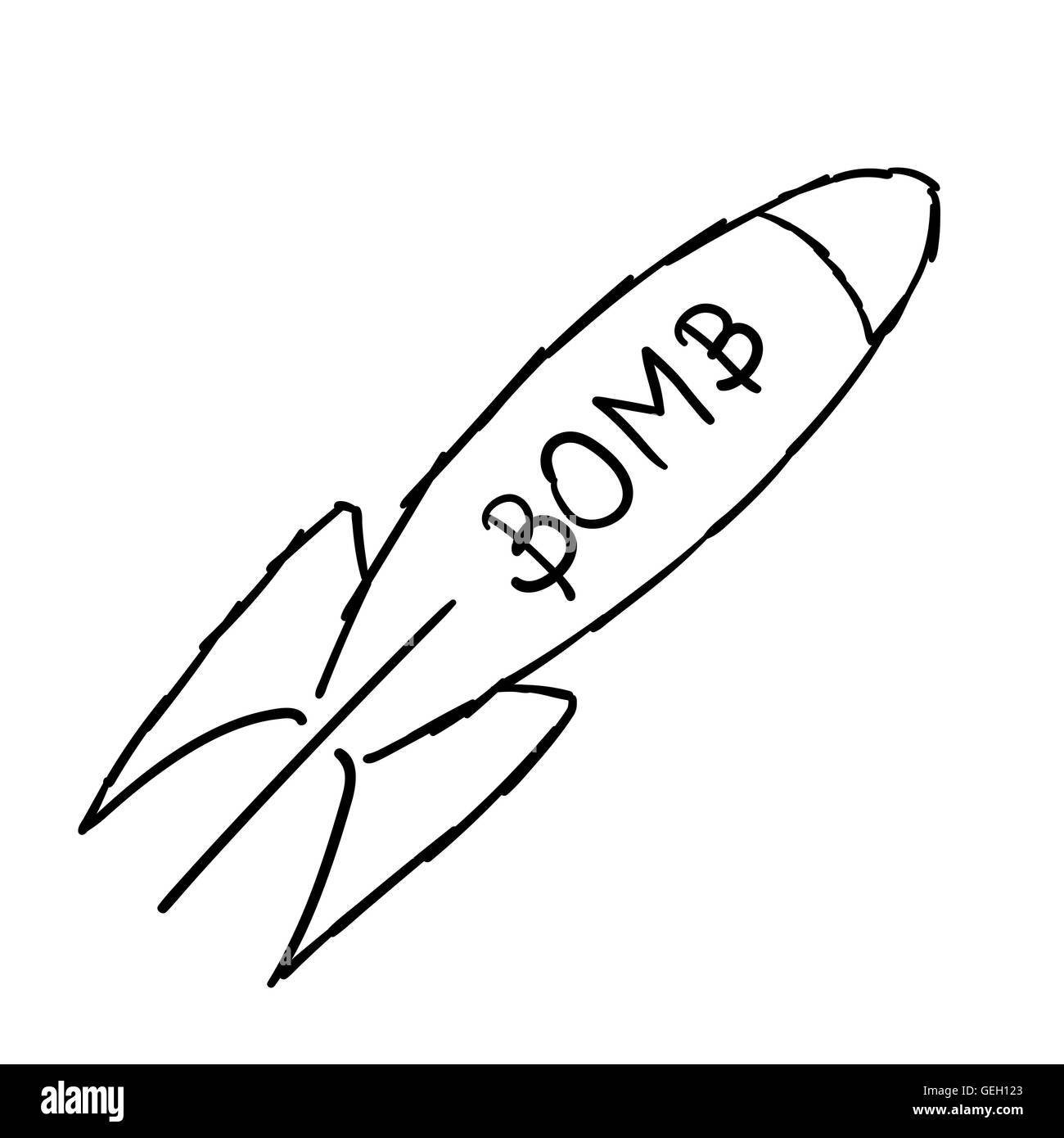 Doodle style bomb illustration in vector format. - Stock Vector