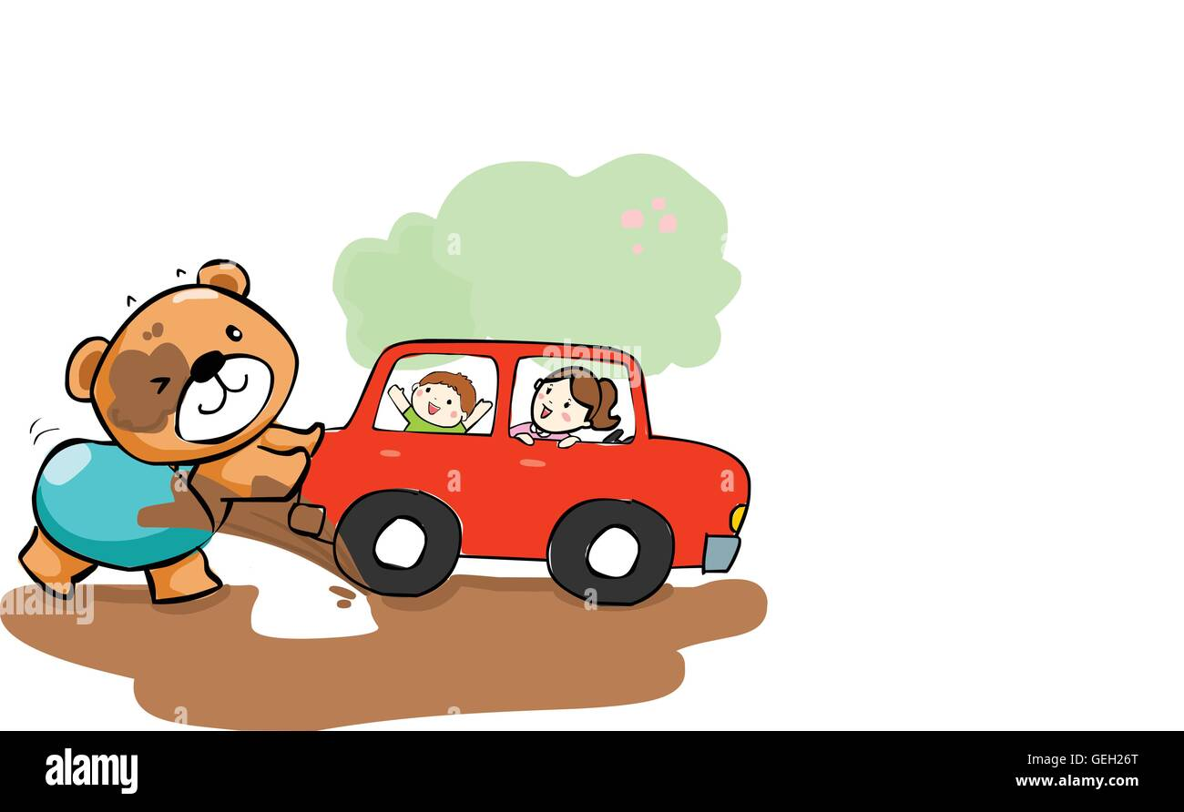 cute bear help car stuck on mud vector illustration - Stock Vector