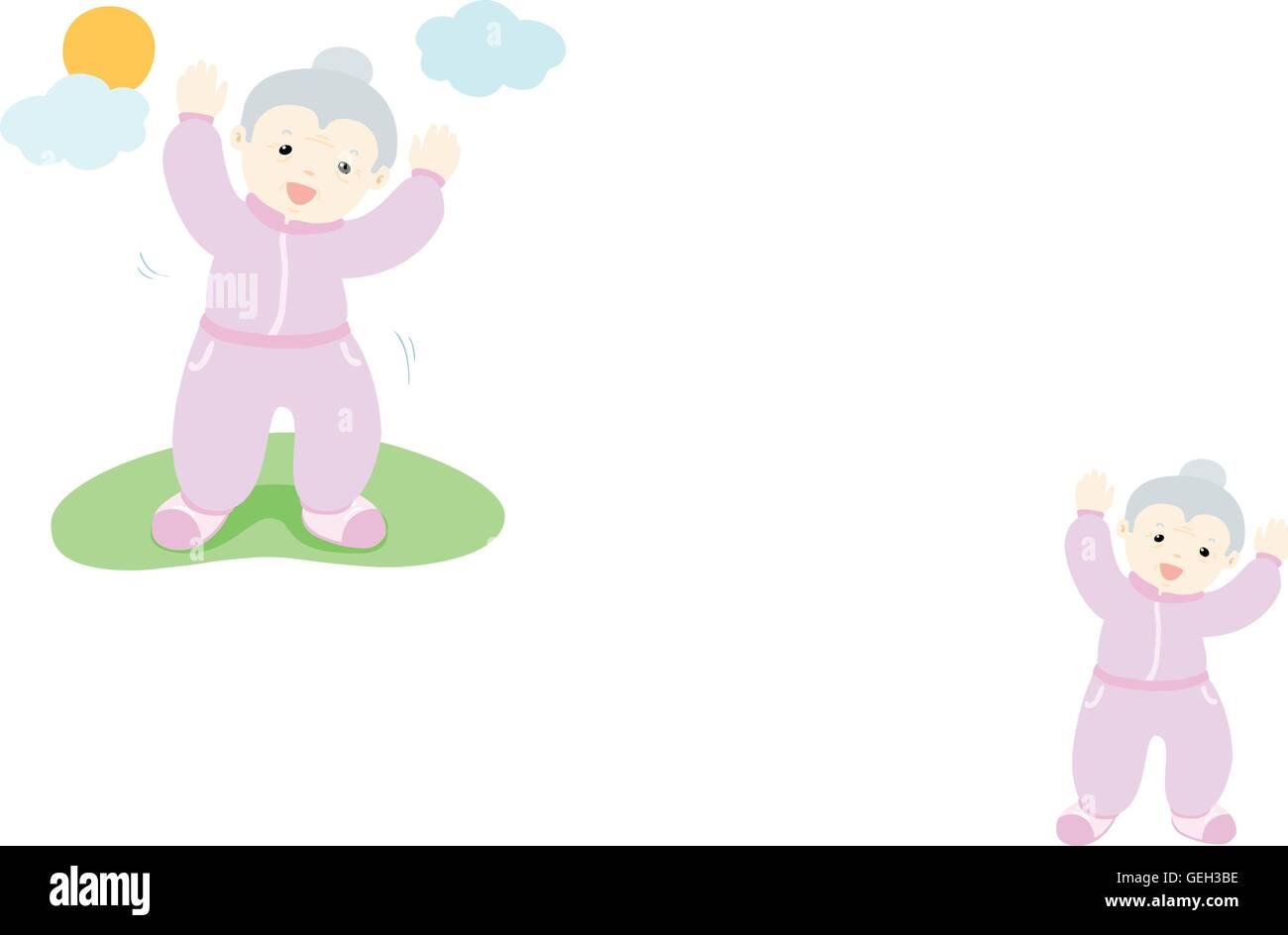 senior woman love to exercise vector illustration - Stock Image