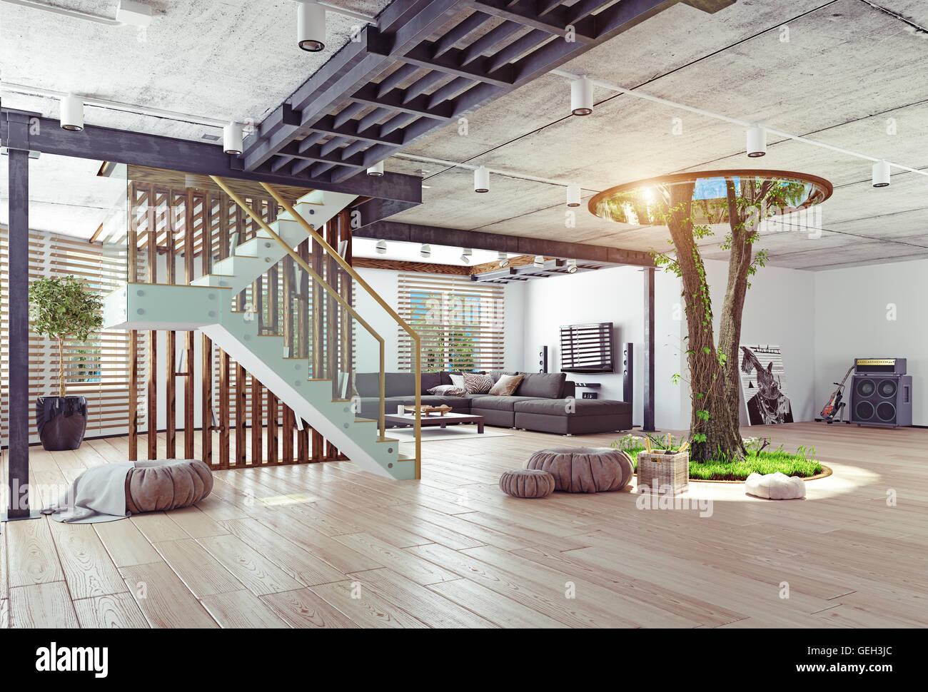 High Quality Eco Design Of The Modern Interior. Real Living Tree Indoor. 3d Concept