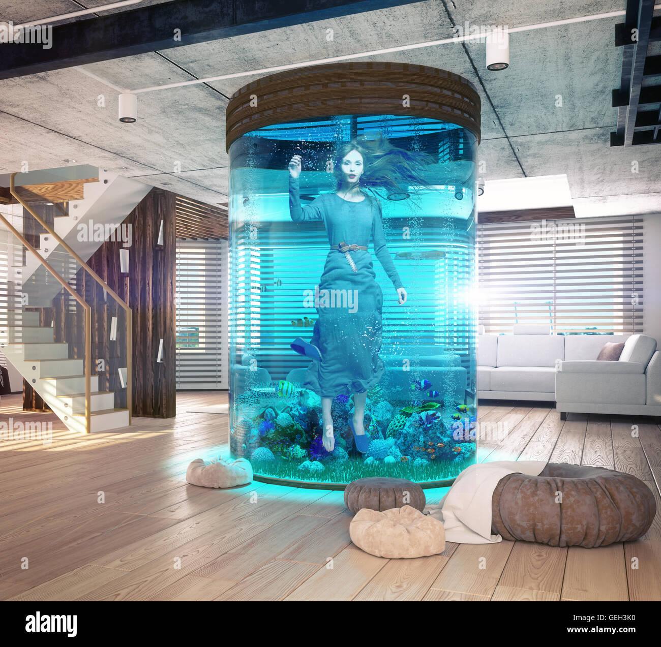 One woman in the  aquarium. The modern loft interior with aquarium. 3d concept - Stock Image