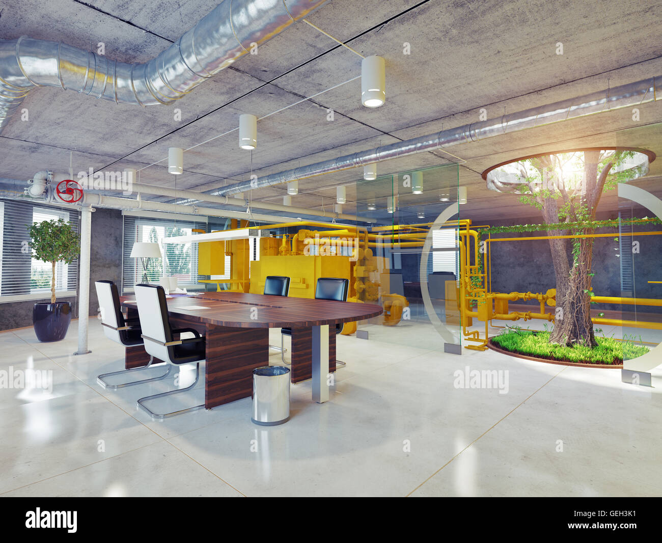 modern eco office interior. 3d architectural concept - Stock Image