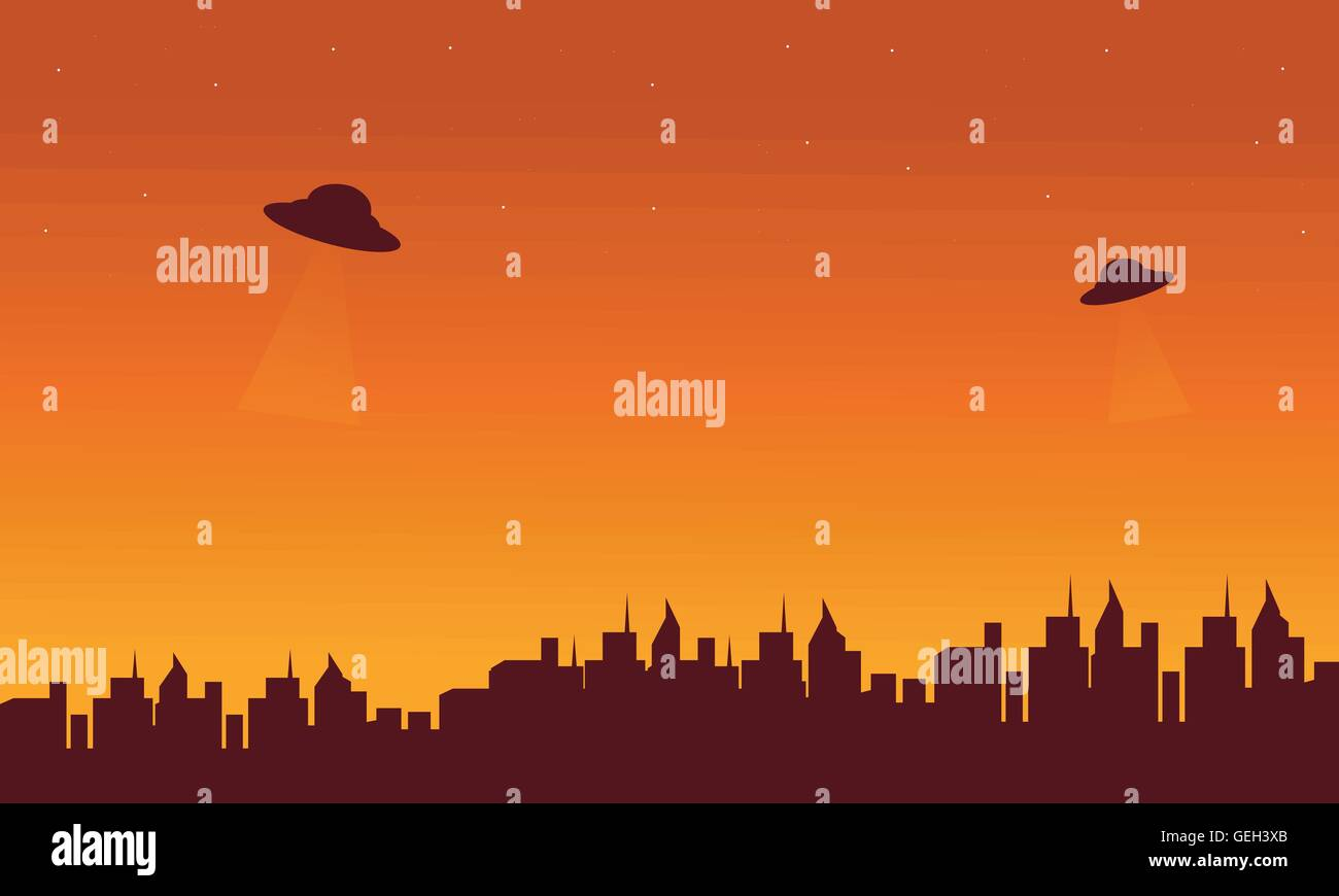 silhouette oof city and ufo in sky stock vector art illustration