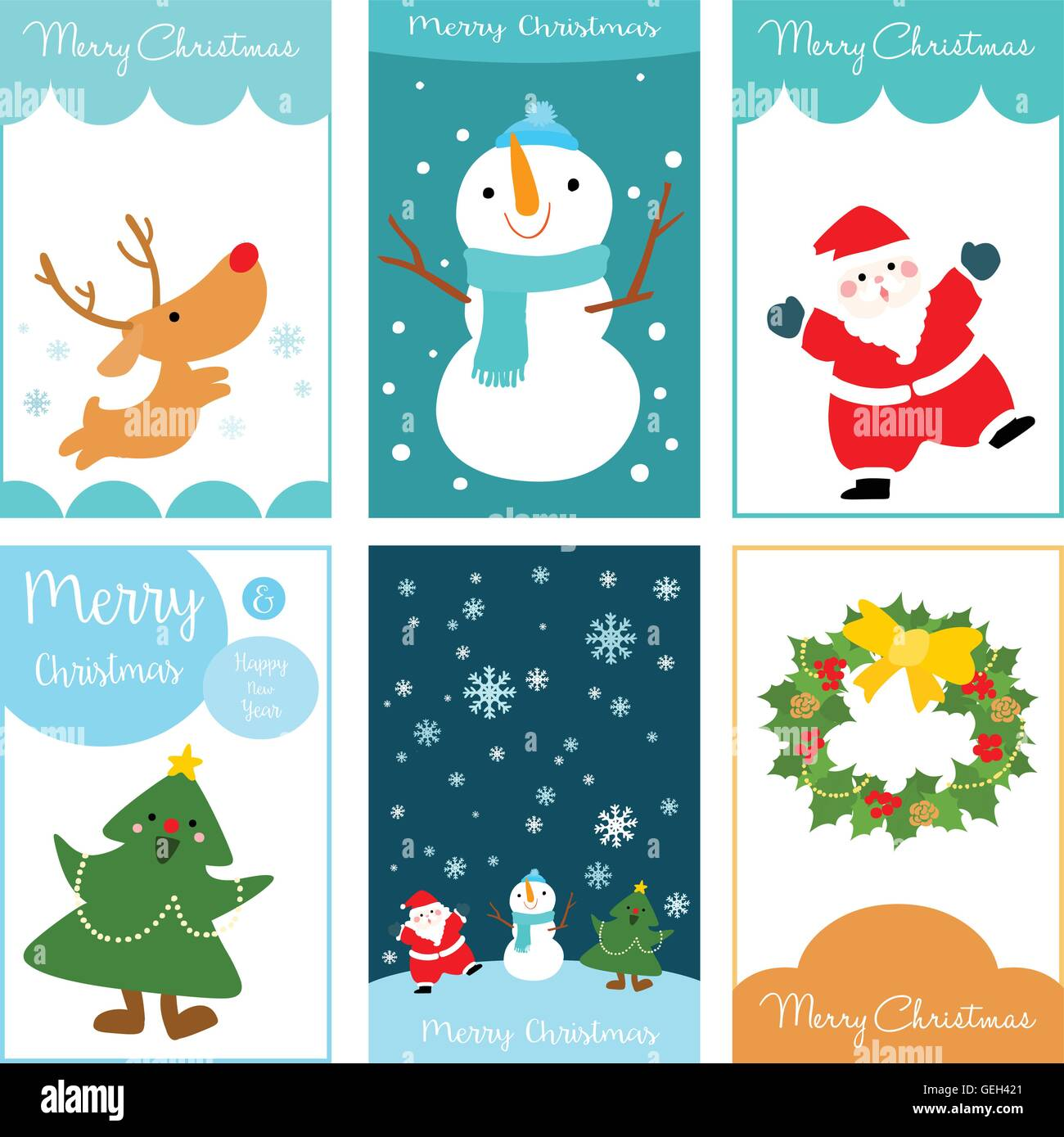 merry christmas and happy new year card vector set illustration