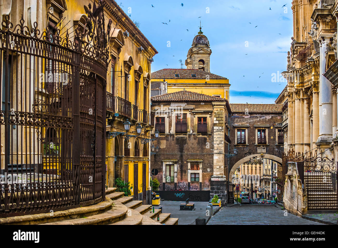 Italy Sicily Catania Via Crociferi - Triumphal arch of San Benedetto - Stock Image
