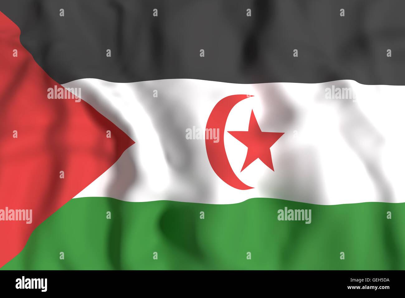 3d rendering of Sahrawi Arab Democratic Republic flag waving - Stock Image