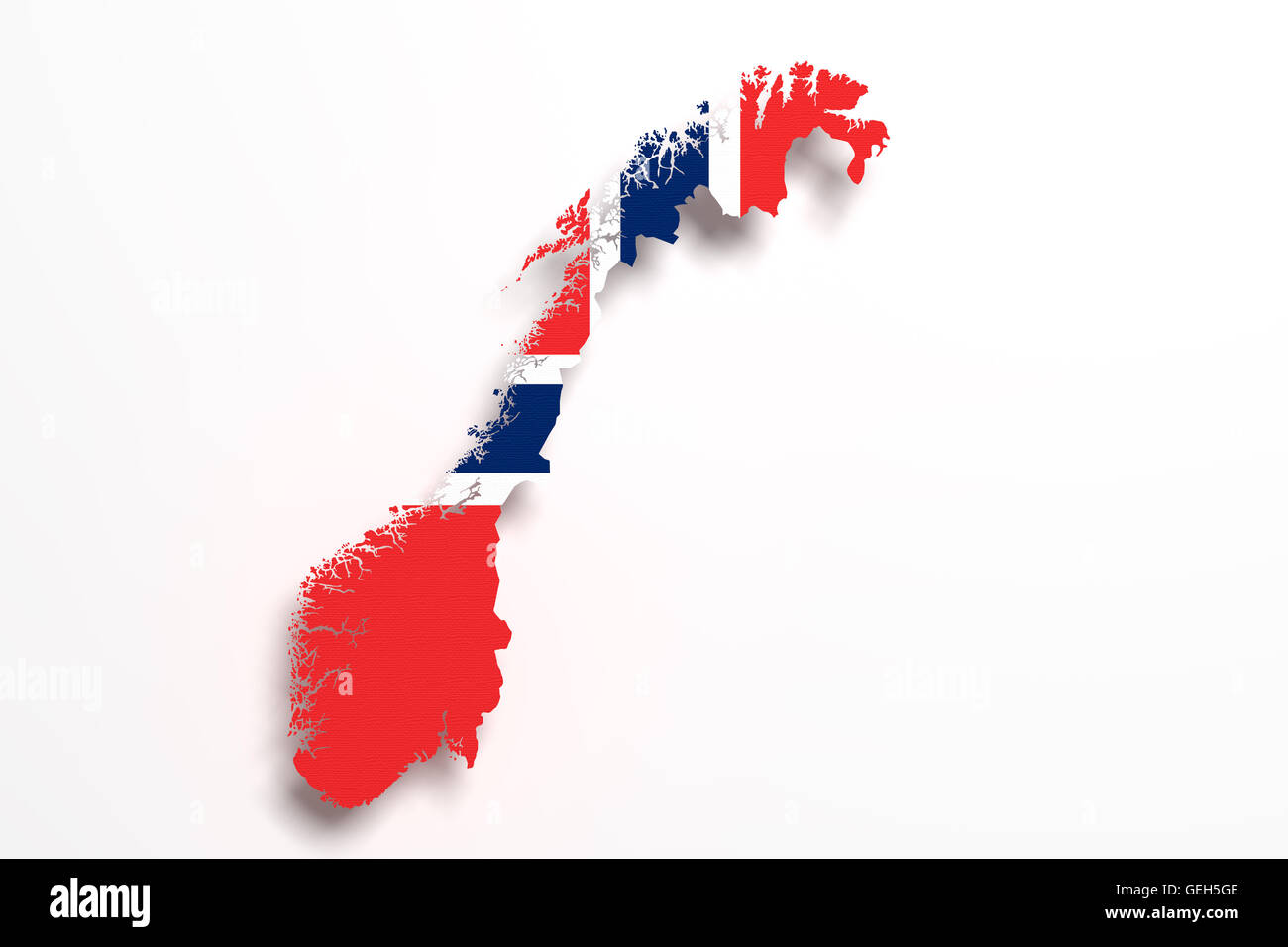 3d Rendering Of Norway Map And Flag On White Background Stock