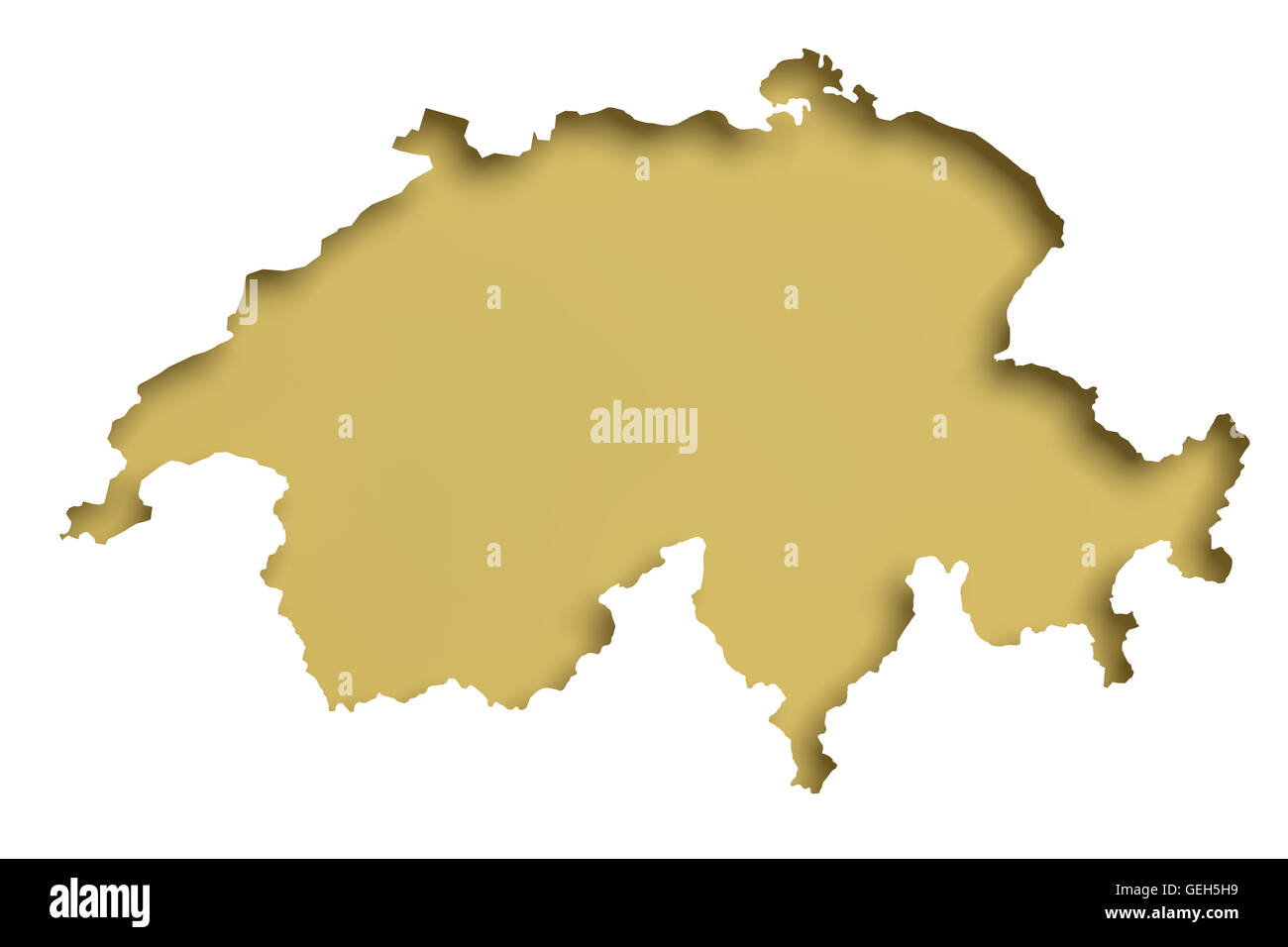 3d rendering of a Switzerland map on white background. - Stock Image