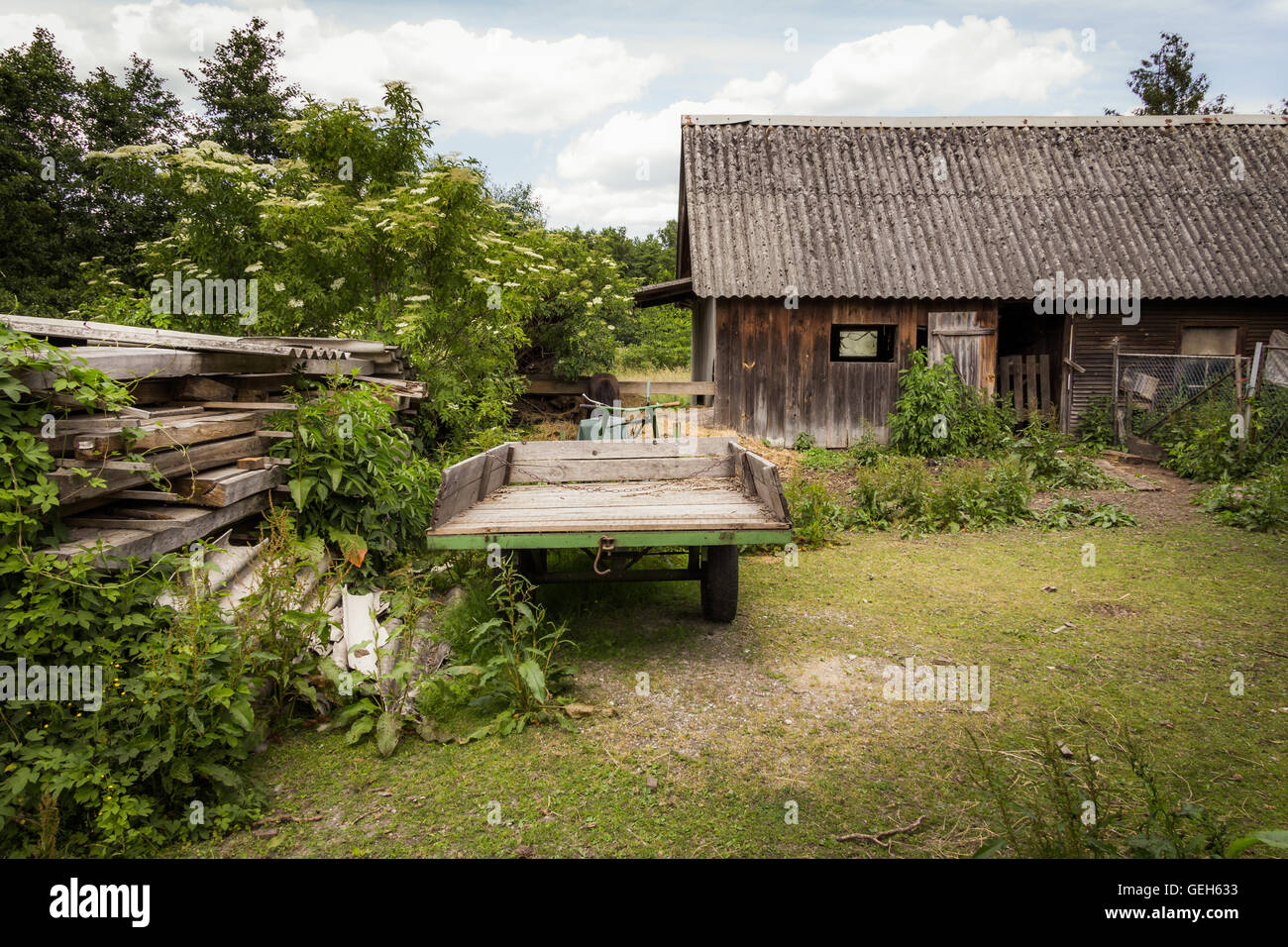 Rural landscape with a wooden hut - Spreewald, Germany. - Stock Image