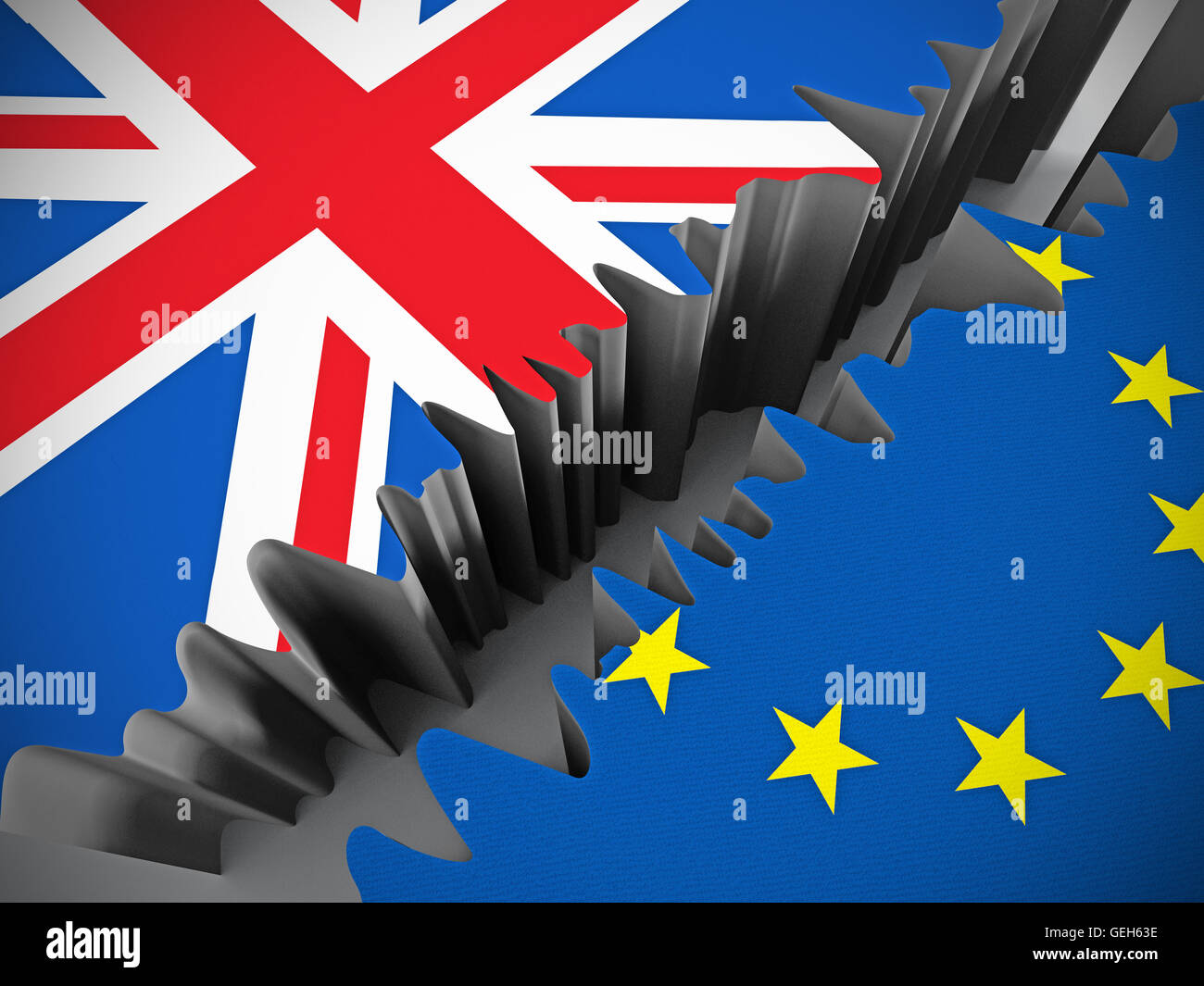 British and European Union flags separated by crack. - Stock Image