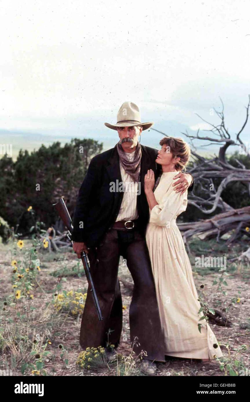 Sam Elliot, Katherine Ross Waehrend seiner Arbeit für eine Postkutschenlinie verliebt sich Conagher (Sam Elliot) - Stock Image