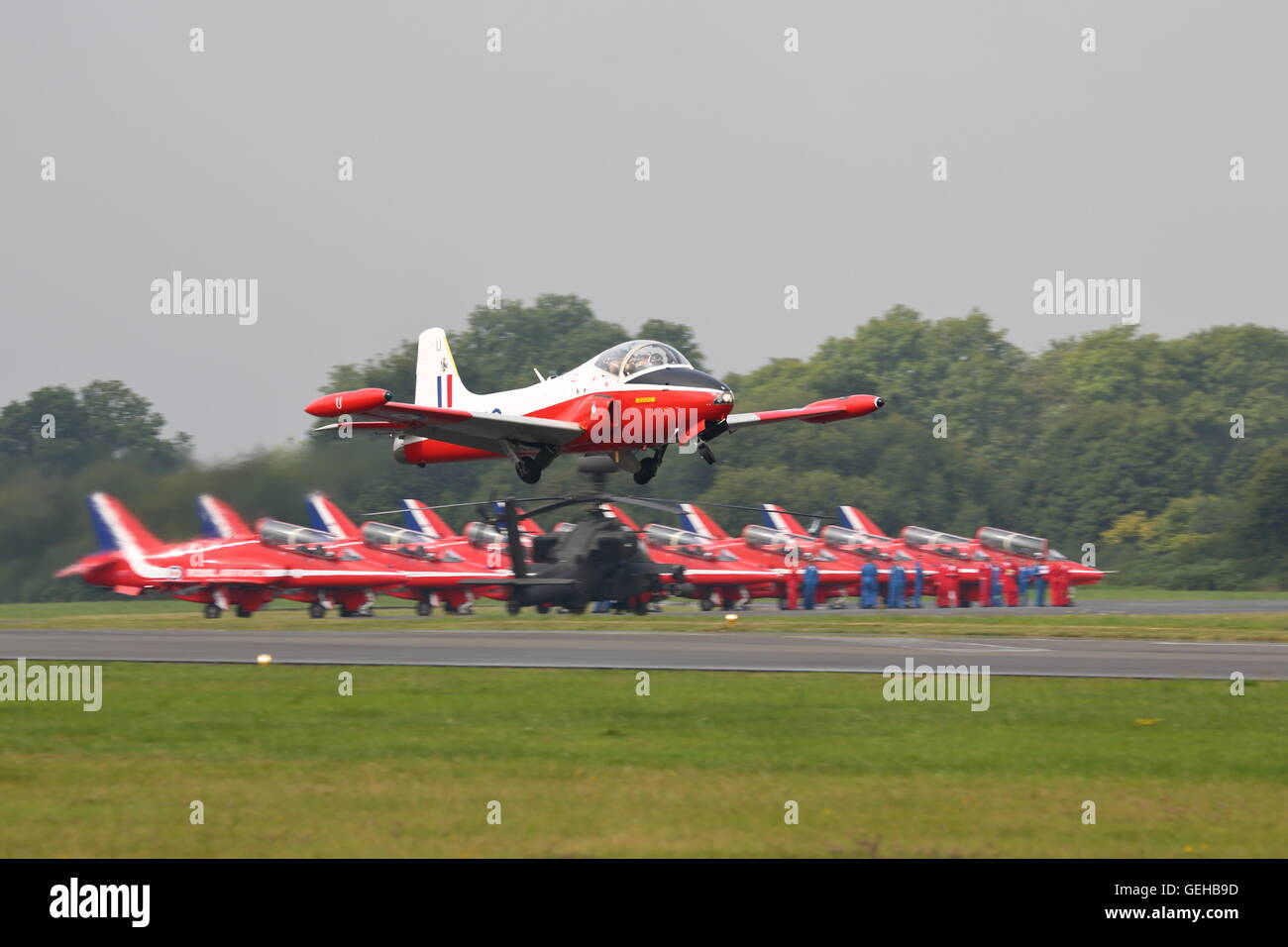 BAC Jet Provost T5A flying low over Dunsfold Aerodrome in Surrey - Stock Image