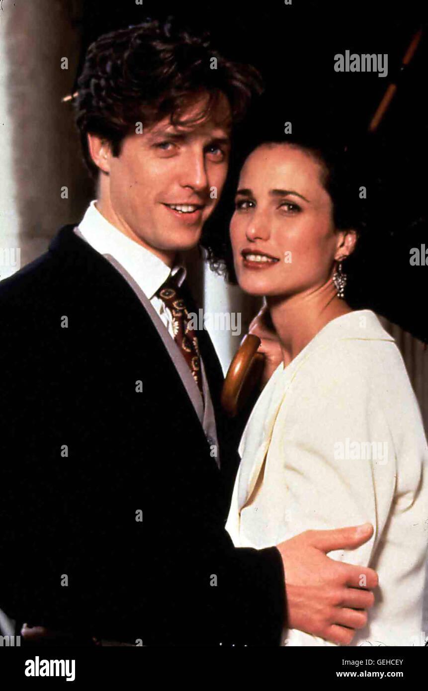 Hugh Grant, Andie MacDowell Der 'ewige Trauzeuge' Charles (Hugh Grant) lernt die schoene Amerikanerin Carrie - Stock Image
