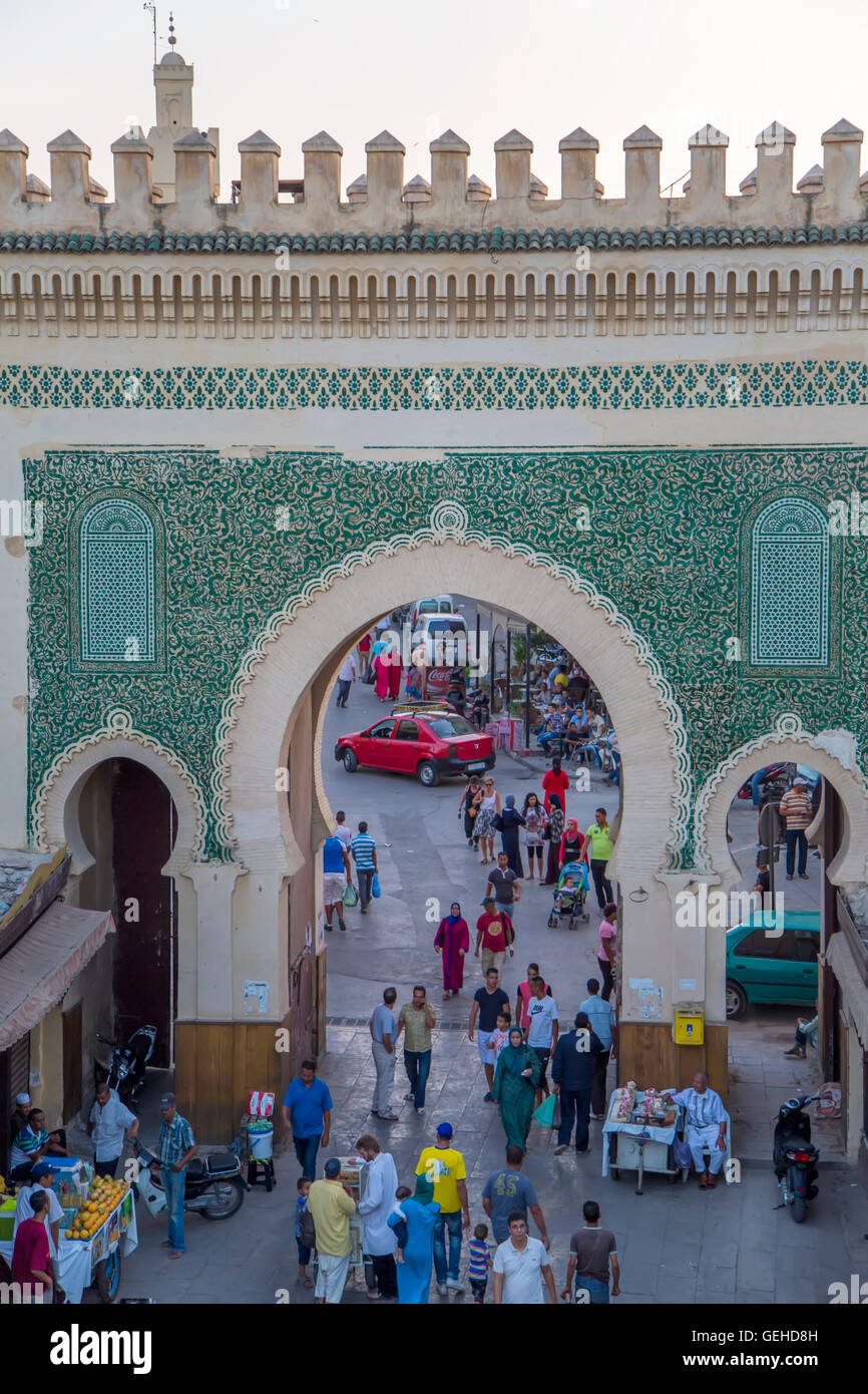 FES, MOROCCO - SEPTEMBER 14, 2014: Unidentified people at Bab Bou Jeloud gate (Blue Gate) in Fez, Morocco in Fes, - Stock Image