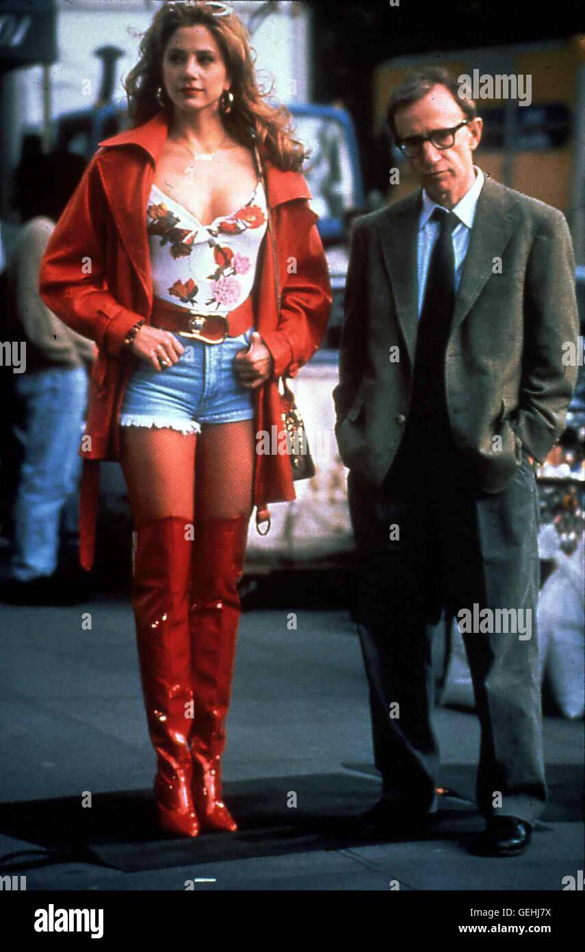 Mira Sorvino, Woody Allen Fassungslos steht Lenny (Woody Allen) vor Max' leiblicher Mutter, Linda Ash (Mira - Stock Image
