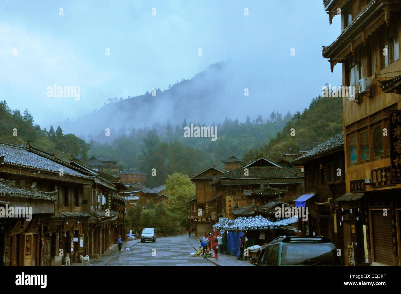 Zhaoxing, Guizhou, China in Early Mornning Stock Photo