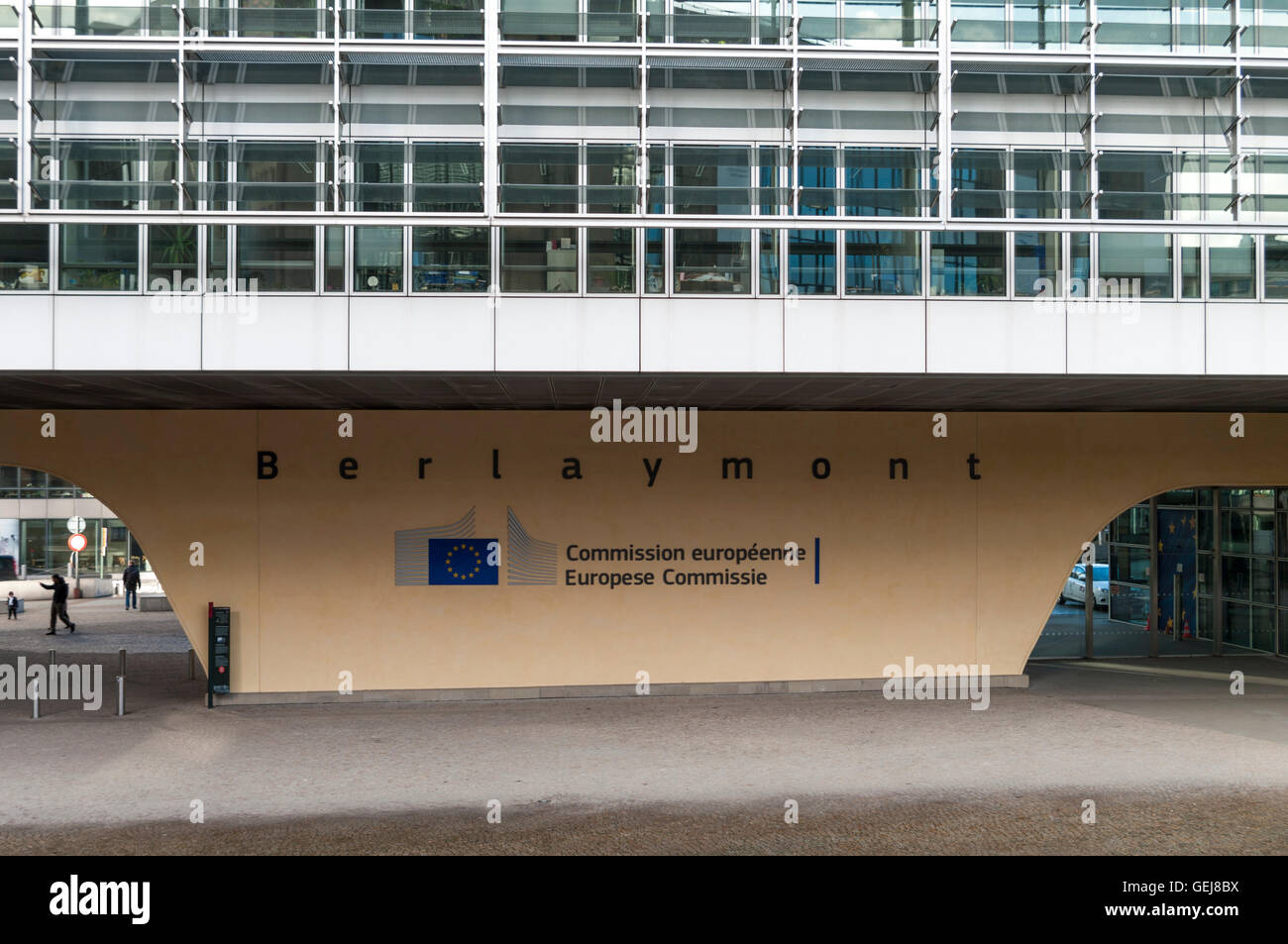 Logo of the European Commission on Berlaymont building, Brussels, Belgium. - Stock Image