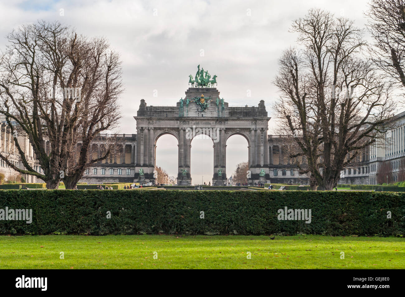 Neoclassical Arcade du Cinquantenaire triumphal arch in Brussels, Belgium. Erected 1905 as a monument of Belgian - Stock Image