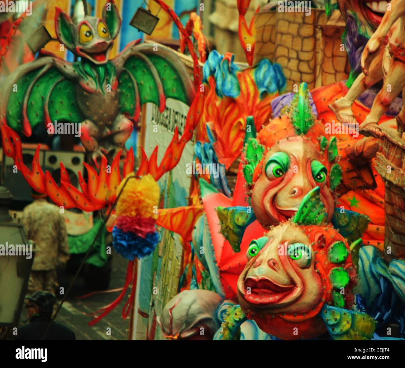 Brightly colored carnival float at Palazzuolo in Ragusa, Sicily ...