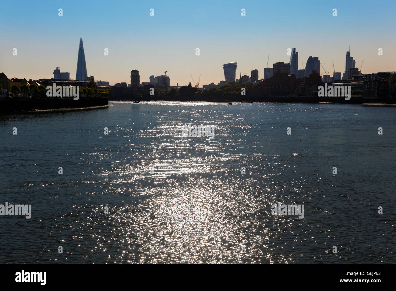 Skyline of London as seen from Canary Wharf - Stock Image