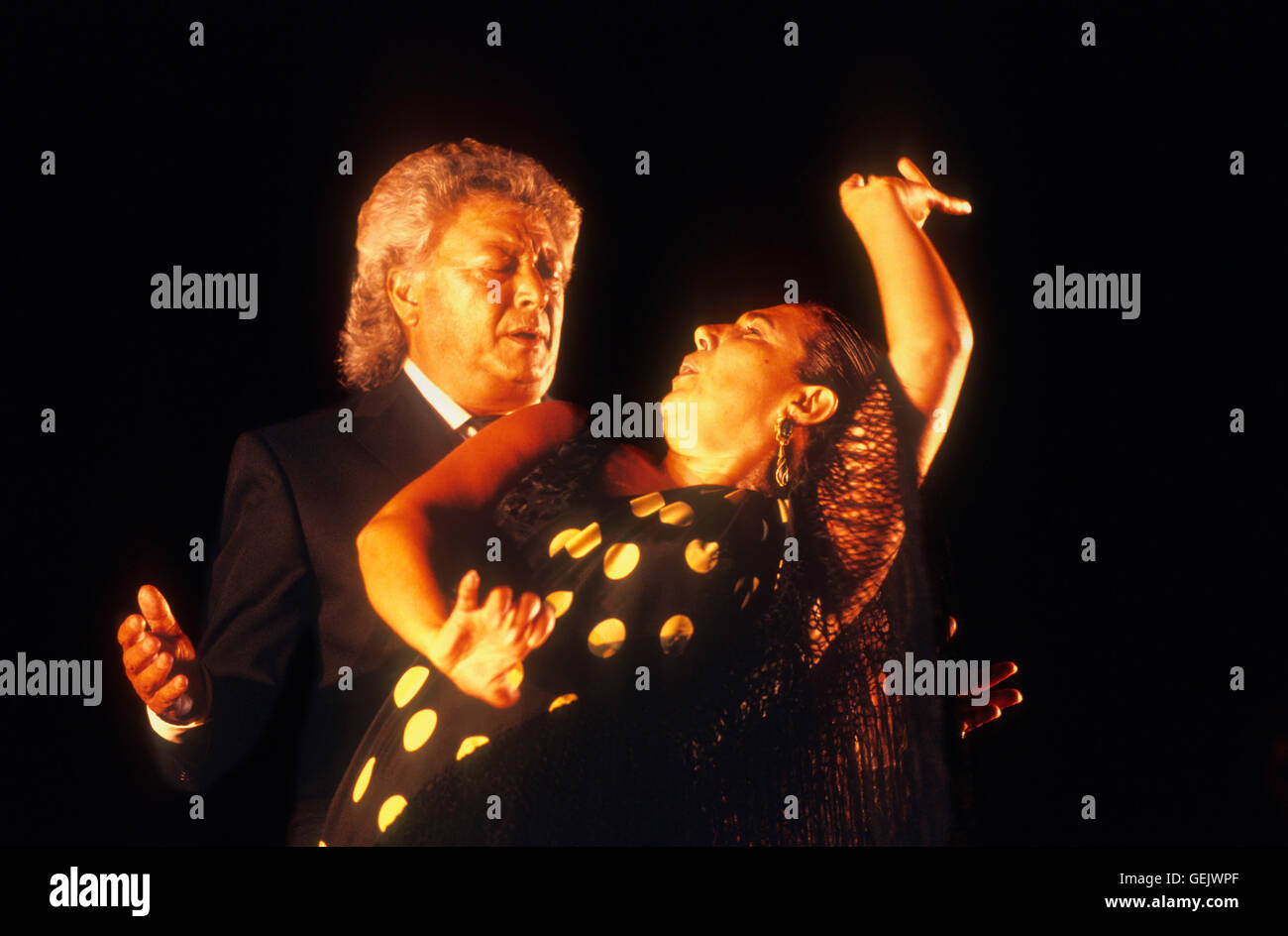 Flamenco singer `Pansequito´(José Cortés Jiménez).And flamenco dancer Carmen Ledesma. Lope de - Stock Image