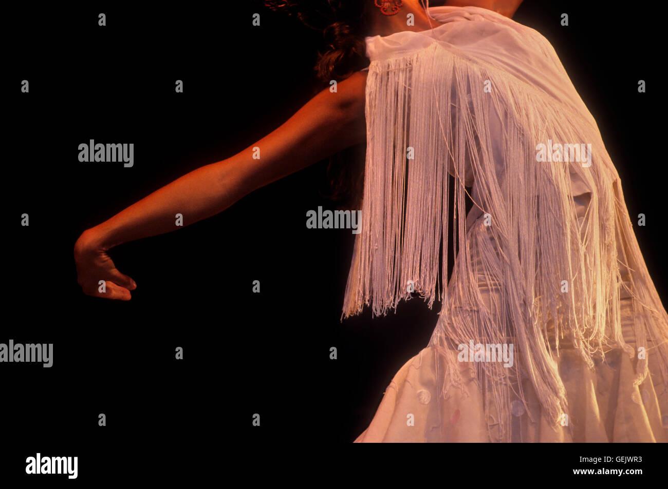 María José Franco.Flamenco dancer.Baluarte de la Candelaria. Cádiz, Andalusia, Spain - Stock Image