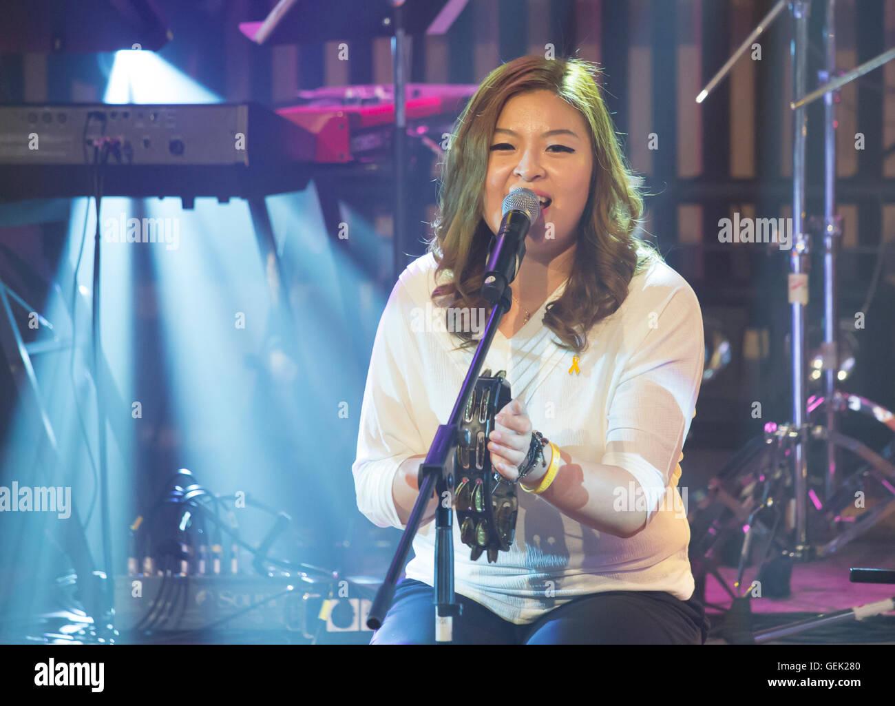 "Park Il-gyu (The Group Woorinara), Jul 23, 2016 : Park Il-gyu, a member of South Korean music group,""Woorinara"" Stock Photo"