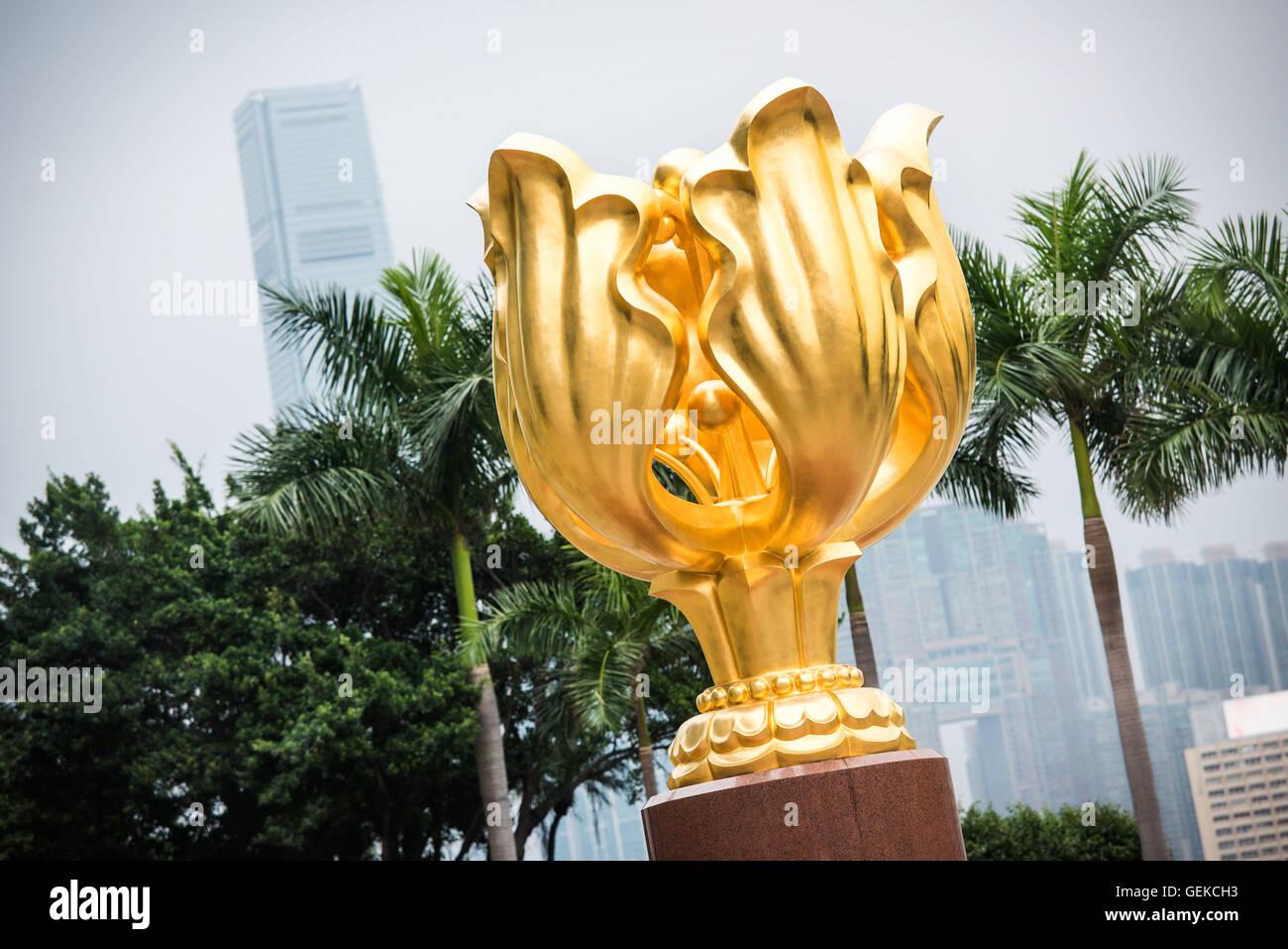 December 15, 2015 - Hong Kong, Hong Kong S.A.R, China - The Forever Blooming Bauhinia Sculpture on Expo Promenade - Stock Image