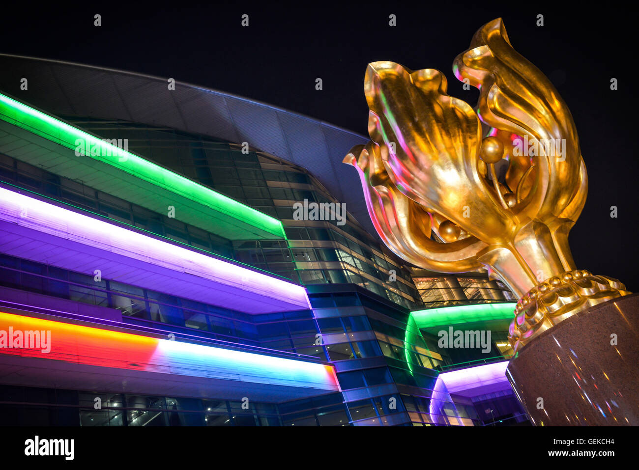 January 30, 2015 - Hong Kong, Hong Kong S.A.R, China - The Forever Blooming Bauhinia Sculpture on Expo Promenade - Stock Image