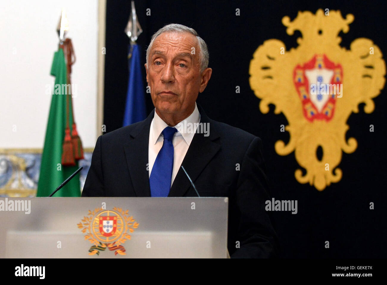 Lisbon, Portugal. 27th July, 2016. Portuguese President Marcelo Rebelo de Sousa delivers a speech at the Palace Stock Photo