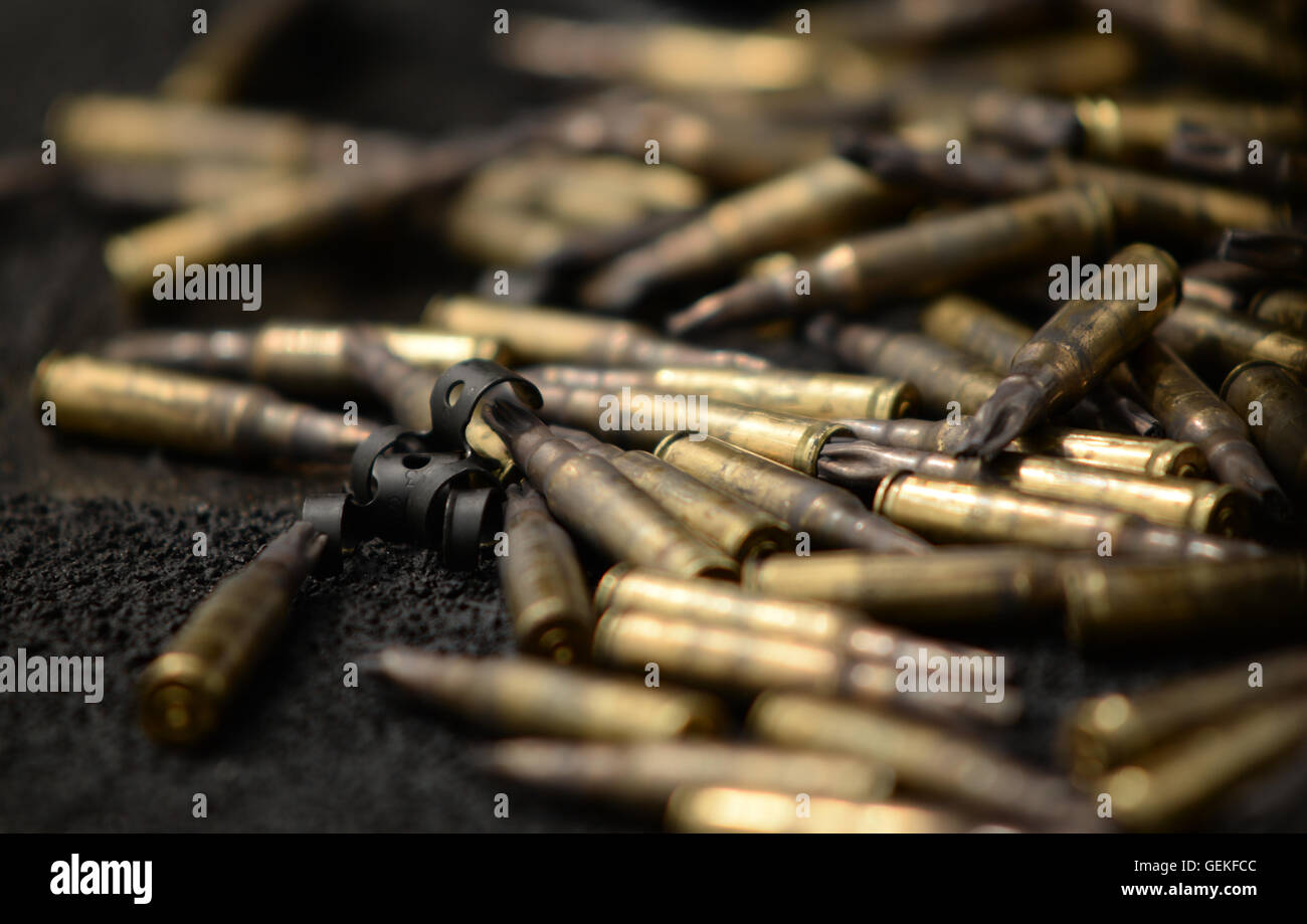 Fired blank 7.62 ammunition fired from a GPMG, (General Purpose Machine Gun) - Stock Image