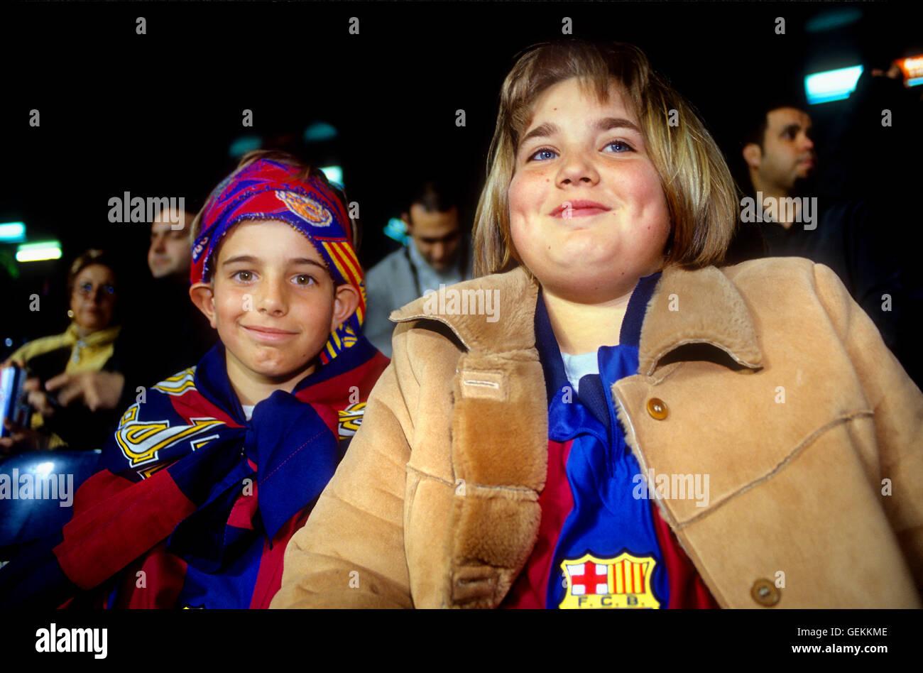 Fans of FC Barcelona. In Camp Nou stadium. Barcelona,spain - Stock Image
