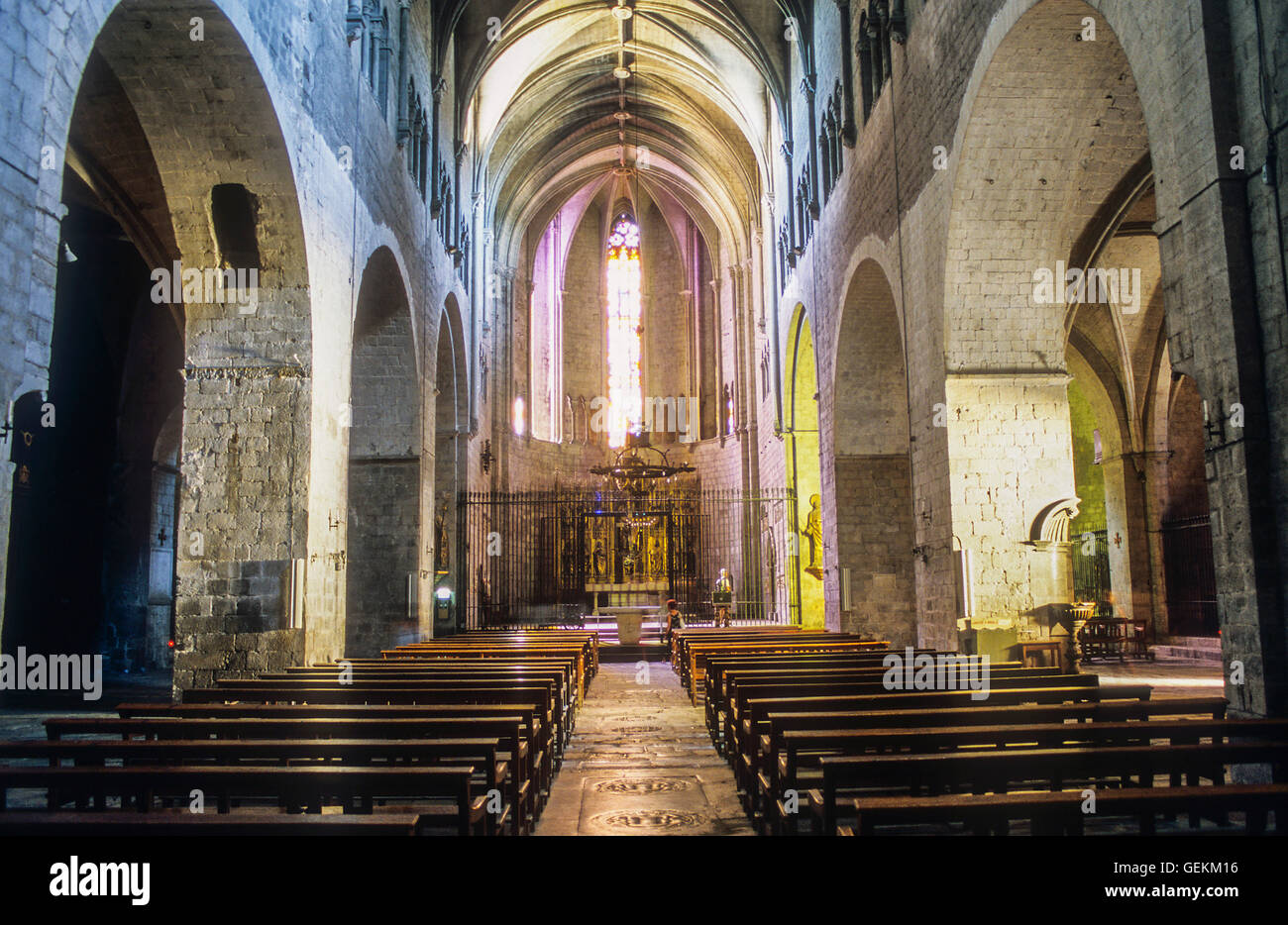 Colegiata de Sant Feliu,Girona,Catalonia, Spain. - Stock Image