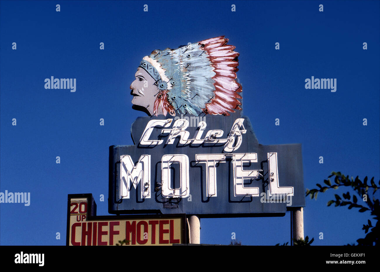 Motel Sign with Native American imagery in Long Beach, CA - Stock Image