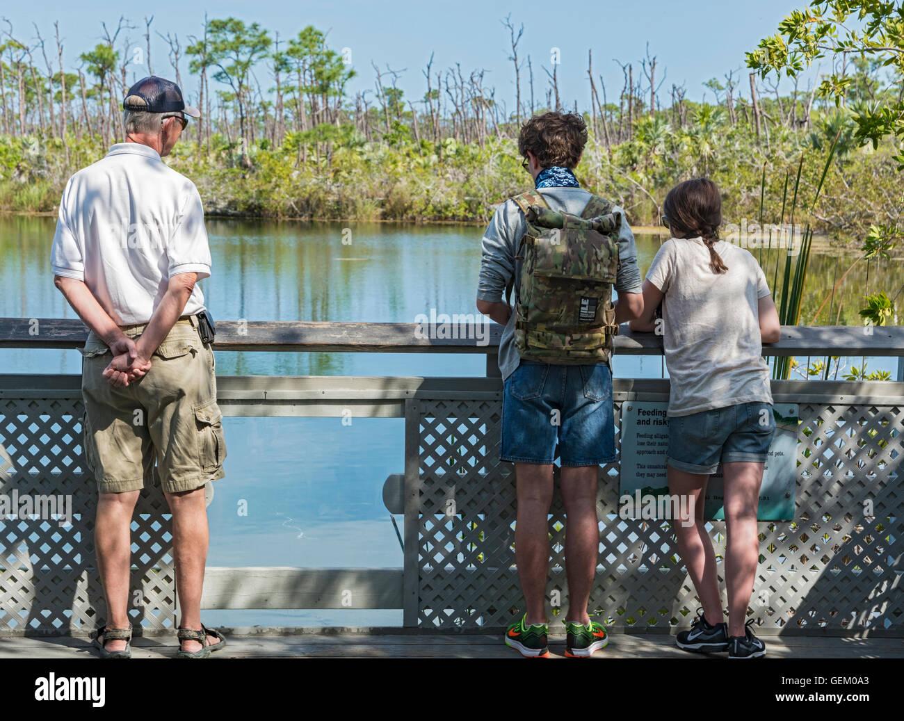 Florida, Big Pine Key, National Key Deer Refuge, The Blue Hole, abandoned limestone quarry, docent with visiting - Stock Image