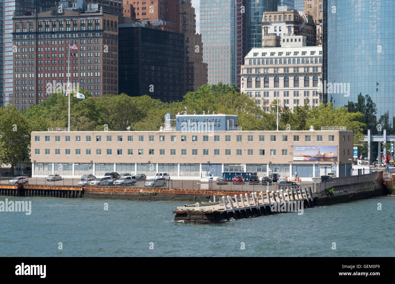 United States Coast Guard building, New York, on the Hudson River - Stock Image