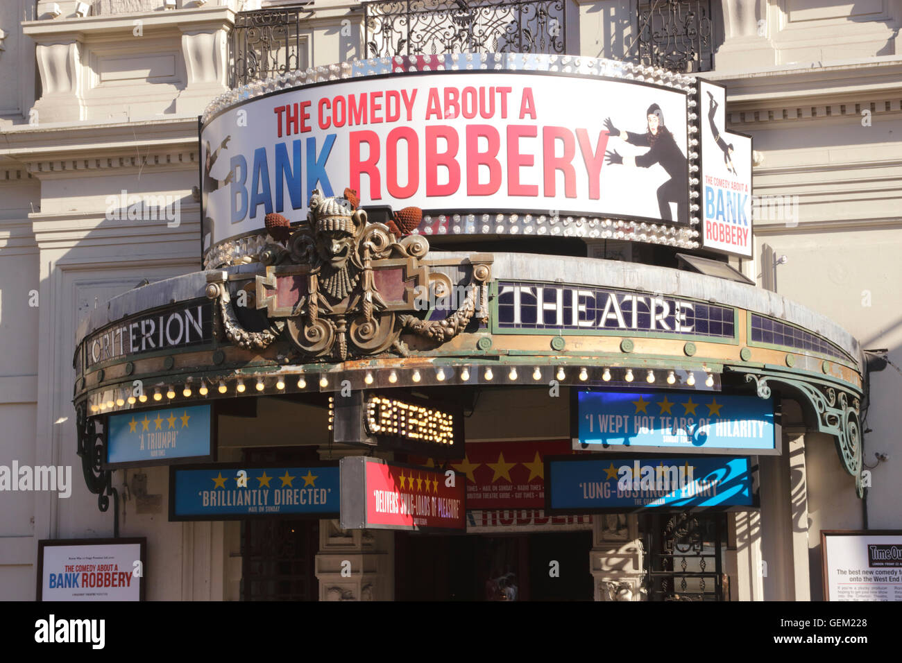 The Comedy About a Bank Robbery showing at the Criterion Theatre Piccadilly London July 2016 - Stock Image
