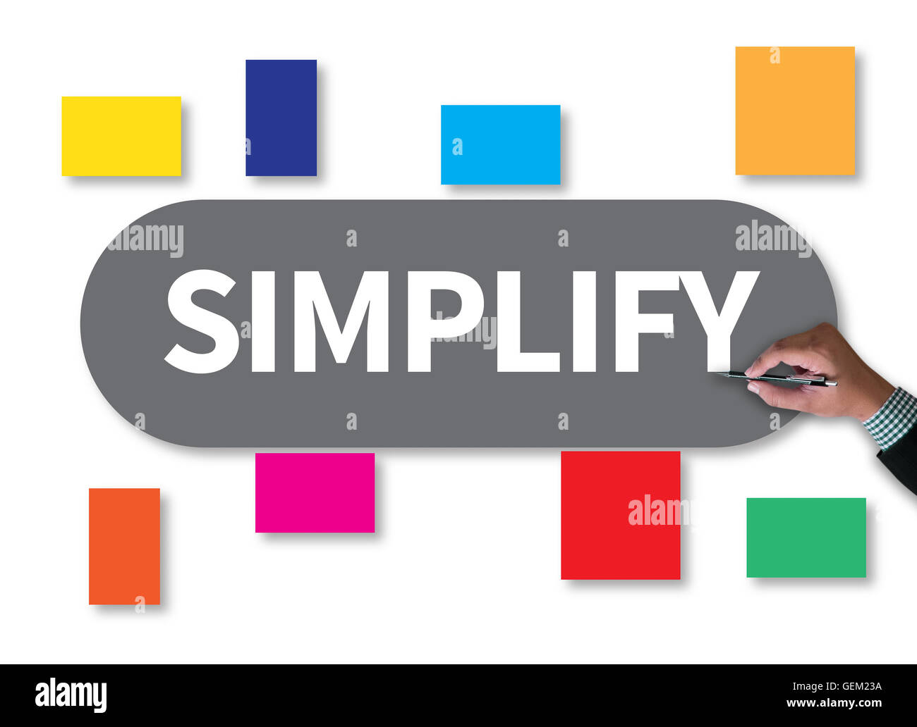 SIMPLIFY businessman work on white broad, top view - Stock Image