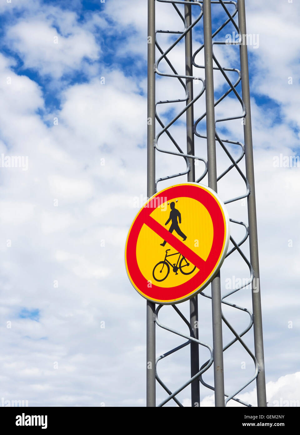 No entry for pedestrians, cycles and mopeds traffic sign, Finland - Stock Image
