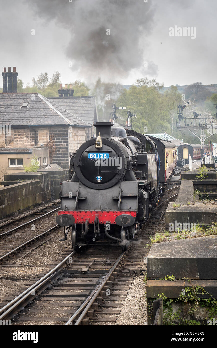 BR Standard Class 4 Tank No.80072 (masquerading as 80126) at North York Moors Railway in May 2016 - Stock Image