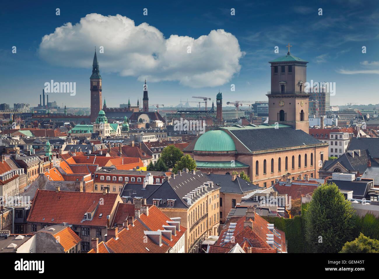Copenhagen. Image of Copenhagen skyline during sunny day. - Stock Image