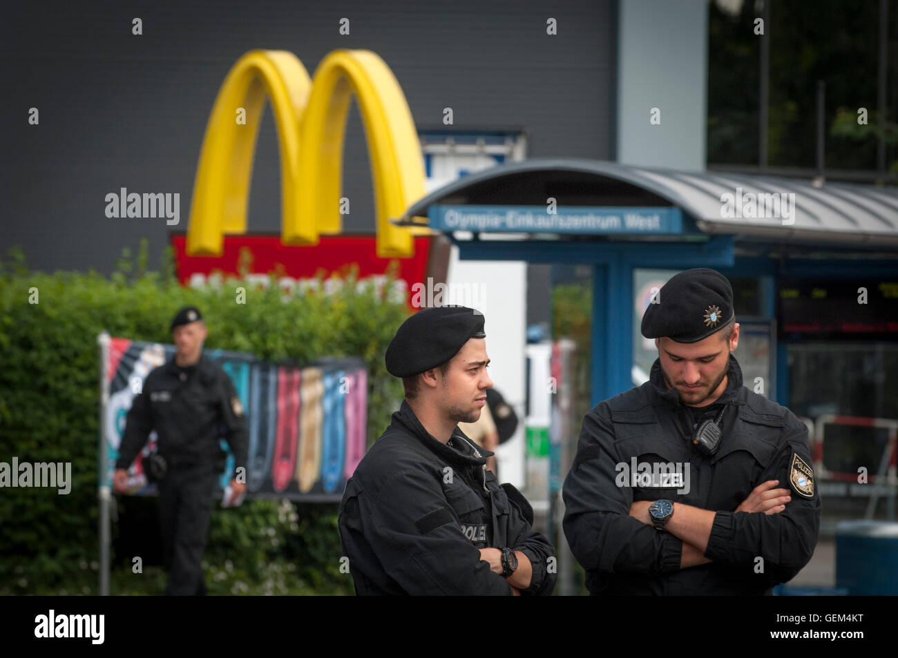 Police in front of the McDonalds where the shooting started at Hanauer Strasser, Munich, Germany. - Stock Image