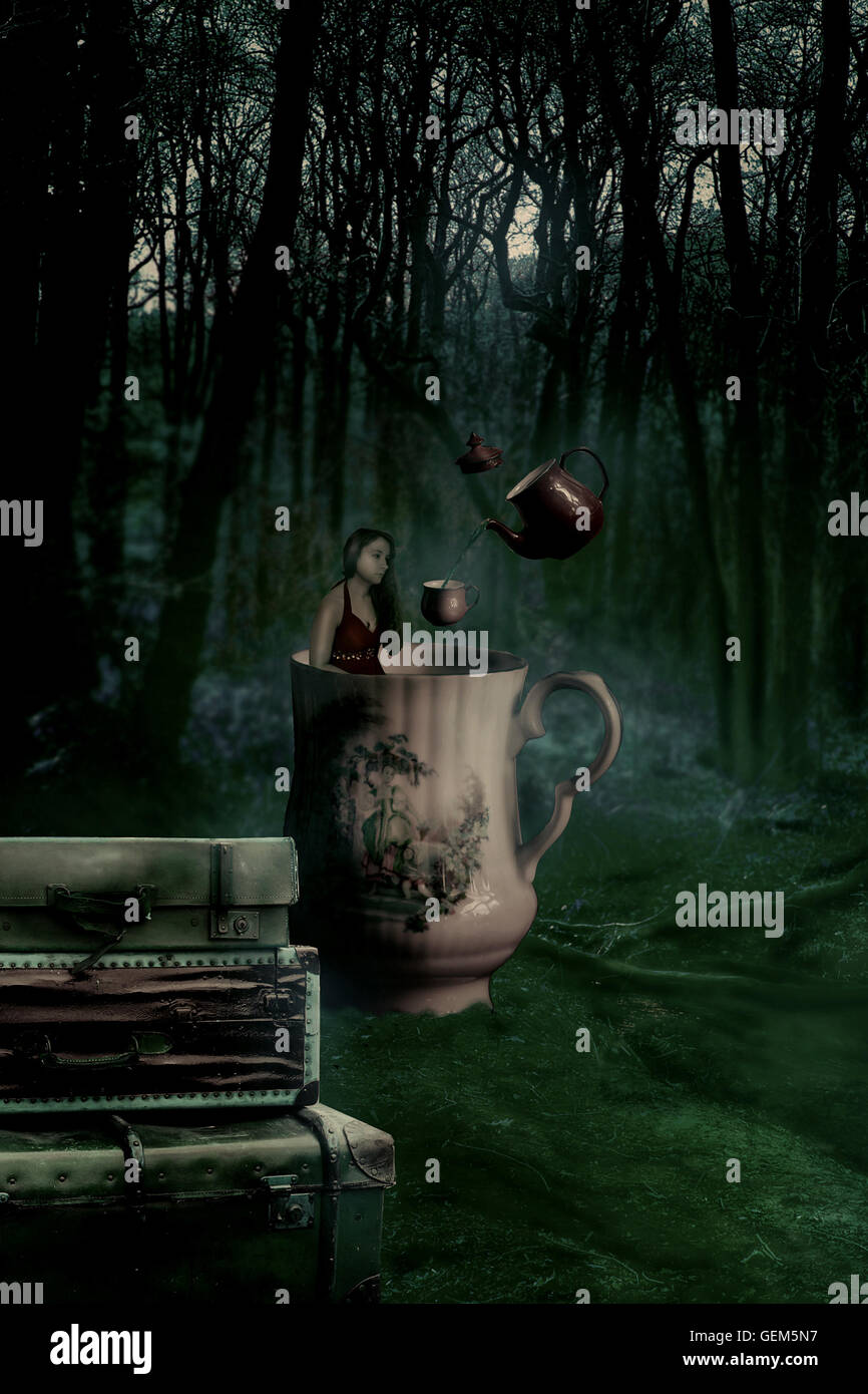 mad hatter tea party, tea party, tea, cup, magic forest, forest, photoshop, proportions, surreal, surrealism, dream, - Stock Image