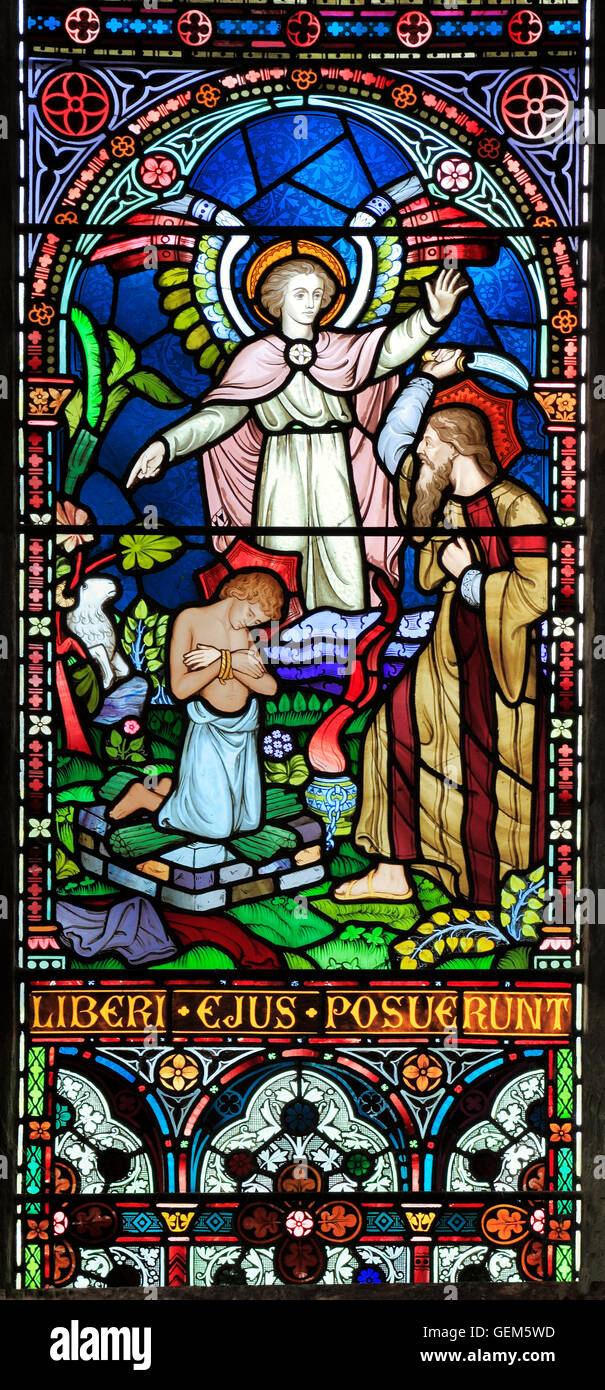 Abraham, son Isaac, Angel, ram, Old Hunstanton, detail of stained glass window by Frederick Preedy, 1867 biblical - Stock Image