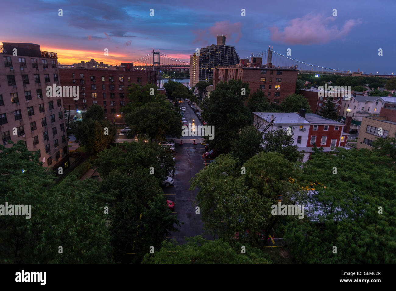 Queens, New York, USA - Sunset in Astoria Queens after a summer storm. - Stock Image