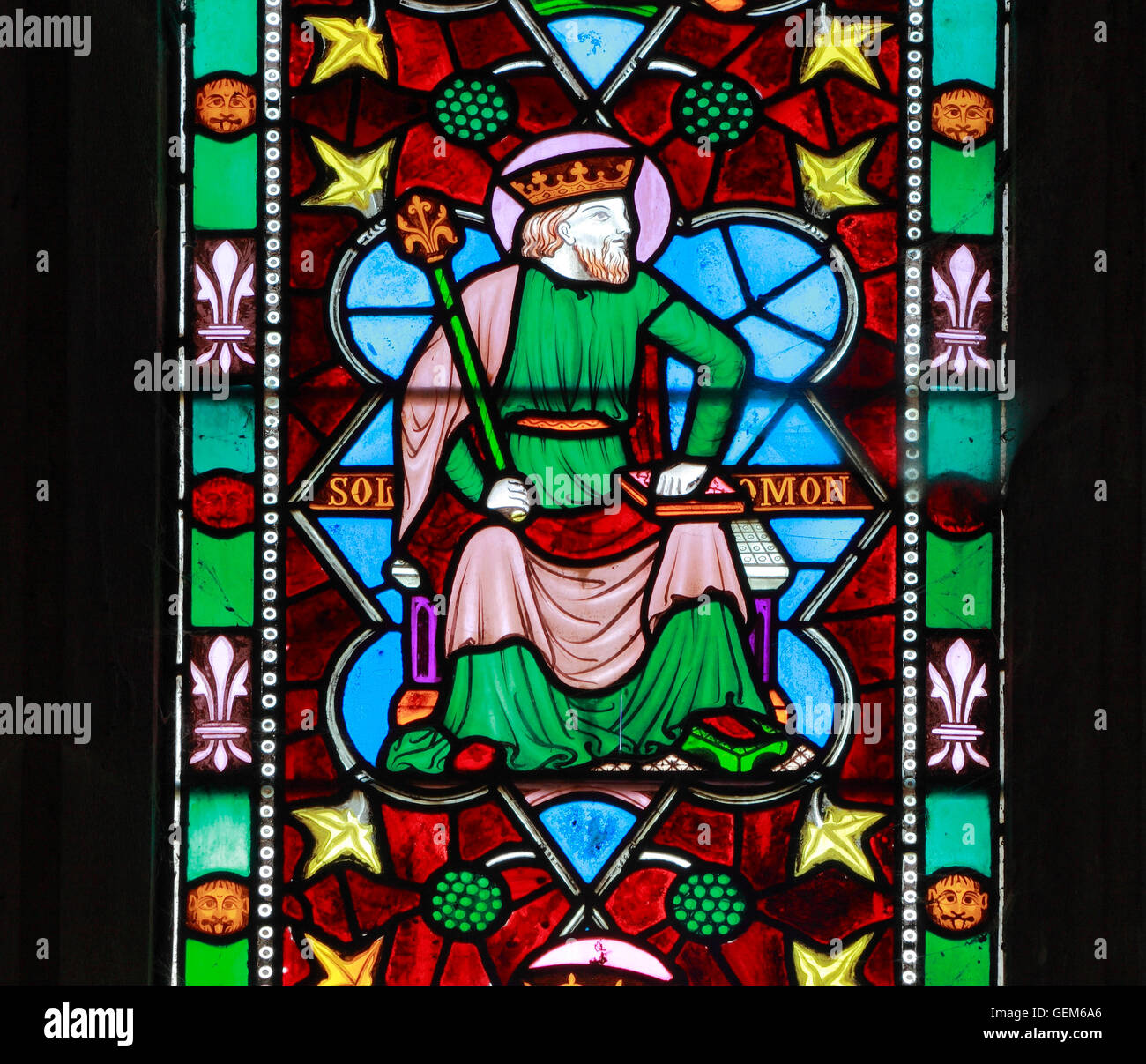 King Solomon, stained glass window, Old Hunstanton, detail of stained glass window by Frederick Preedy 1862 Tree Stock Photo