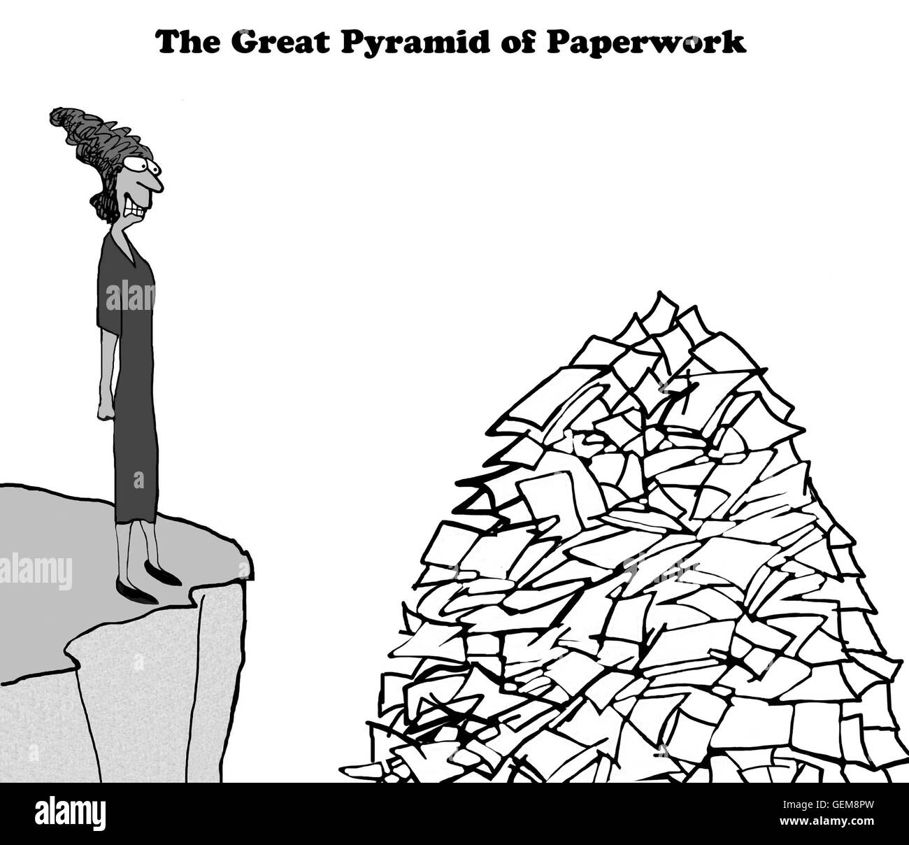 Business cartoon about being stressed by having too much paperwork to finish. - Stock Image