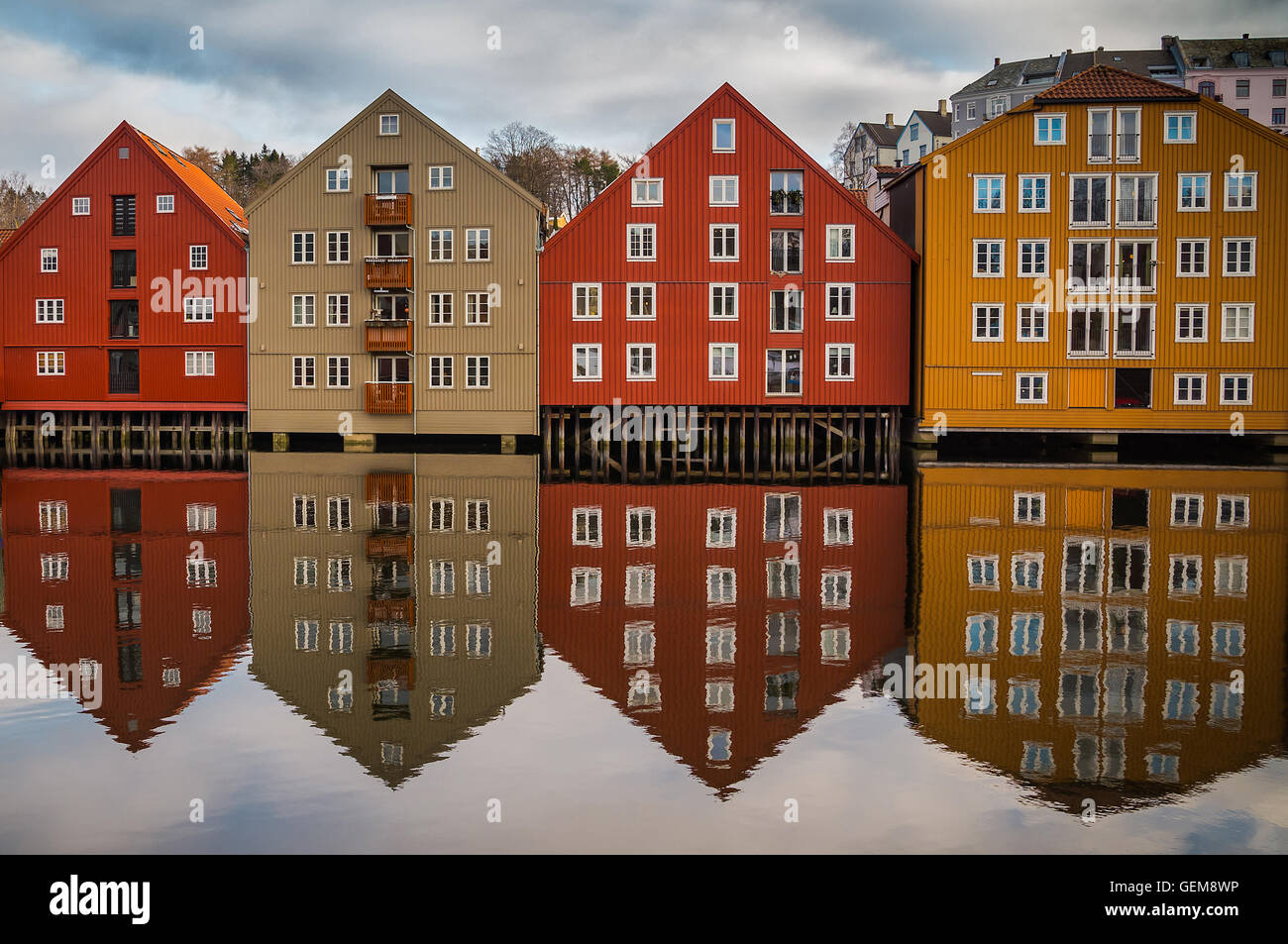 Symmetric reflection of houses in Trondheim, Norway - Stock Image