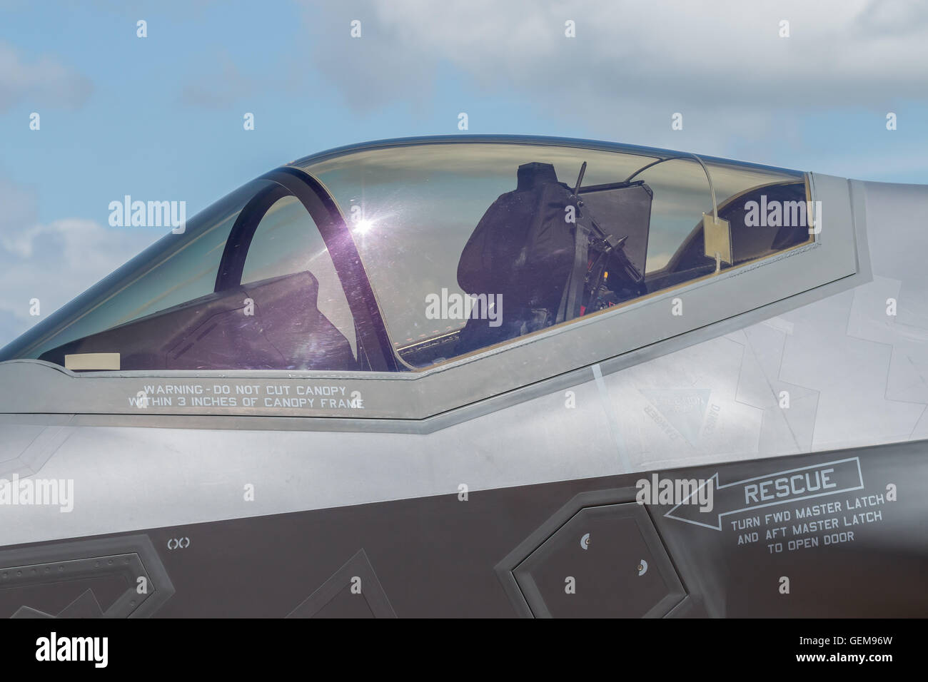 Close up of US Air Force F-35 Lightning 2 aircraft cockpit, one of the most advanced modern fighters. RAF Fairford - Stock Image